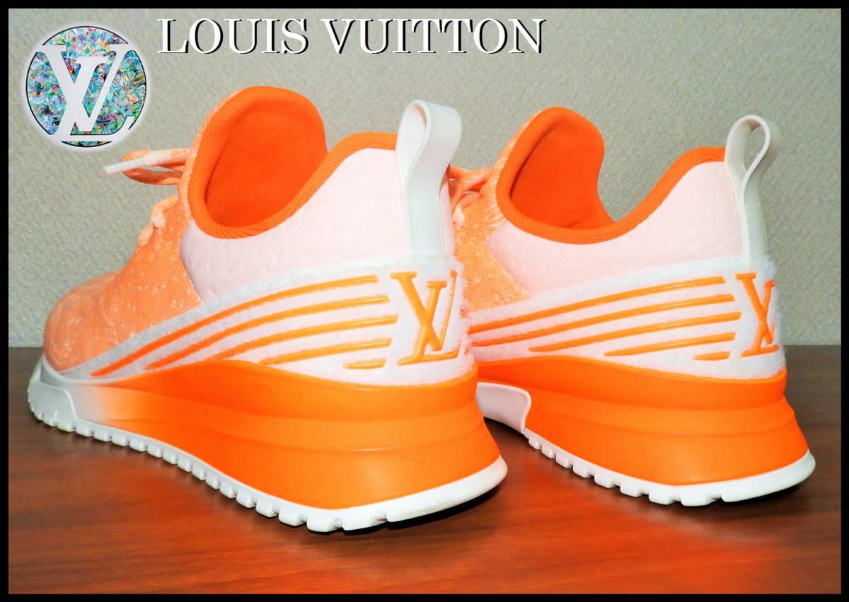即完売 LOUIS VUITTON V.N.Rラインスニーカー オレンジ グラデーション ルイヴィトン LV ニット 靴 8 白 ベルト ランニング 美品 箱付き_画像5
