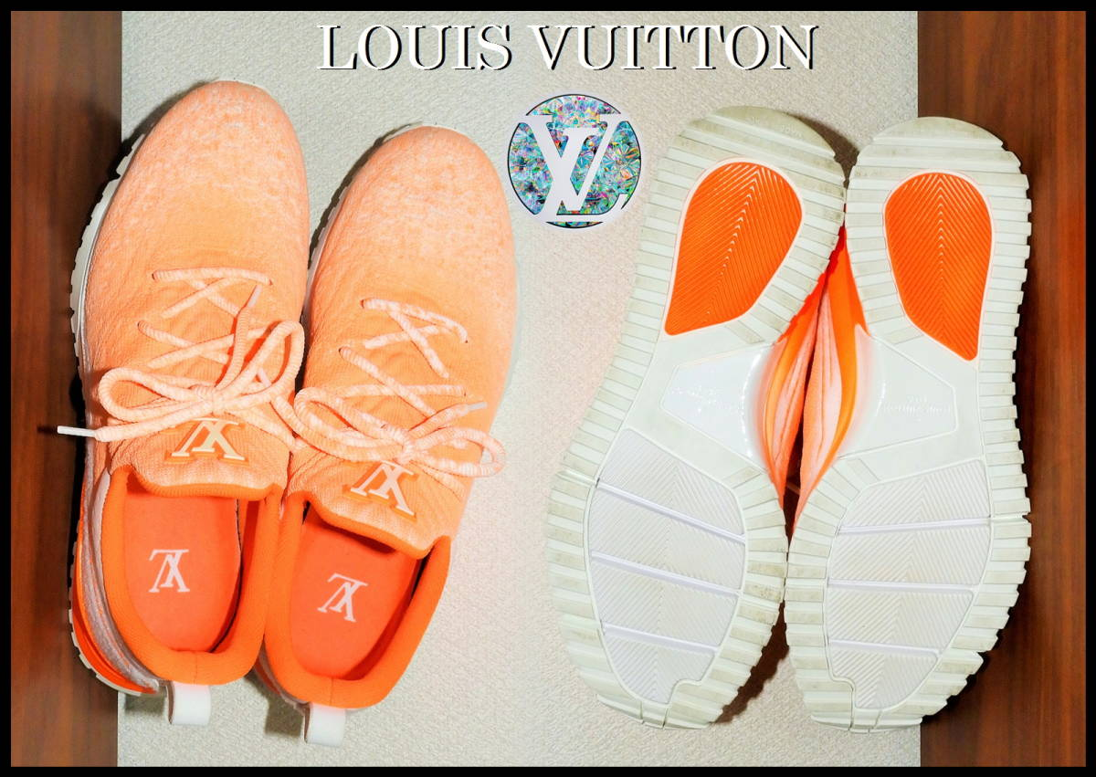 即完売 LOUIS VUITTON V.N.Rラインスニーカー オレンジ グラデーション ルイヴィトン LV ニット 靴 8 白 ベルト ランニング 美品 箱付き_画像7