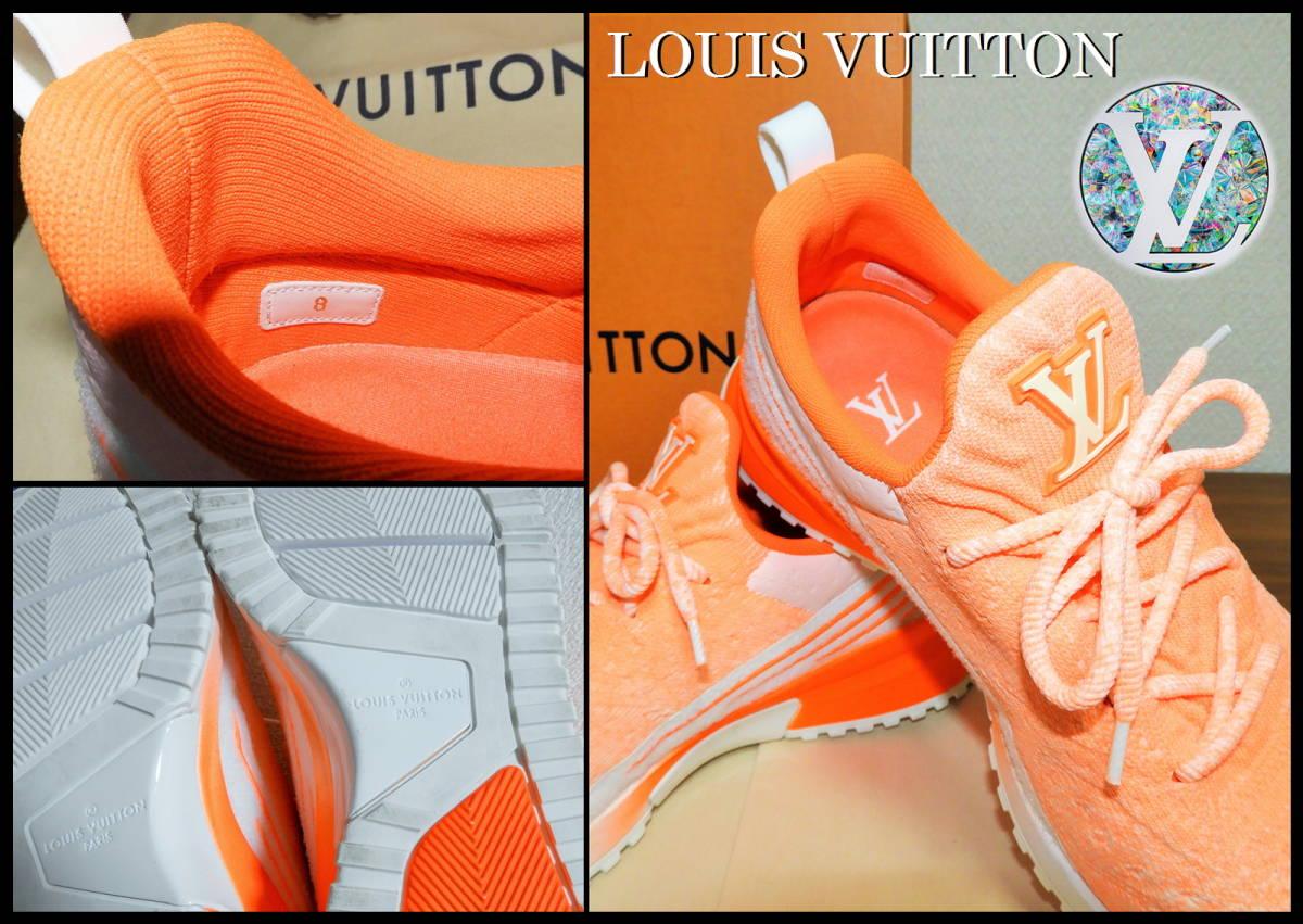 即完売 LOUIS VUITTON V.N.Rラインスニーカー オレンジ グラデーション ルイヴィトン LV ニット 靴 8 白 ベルト ランニング 美品 箱付き_画像8