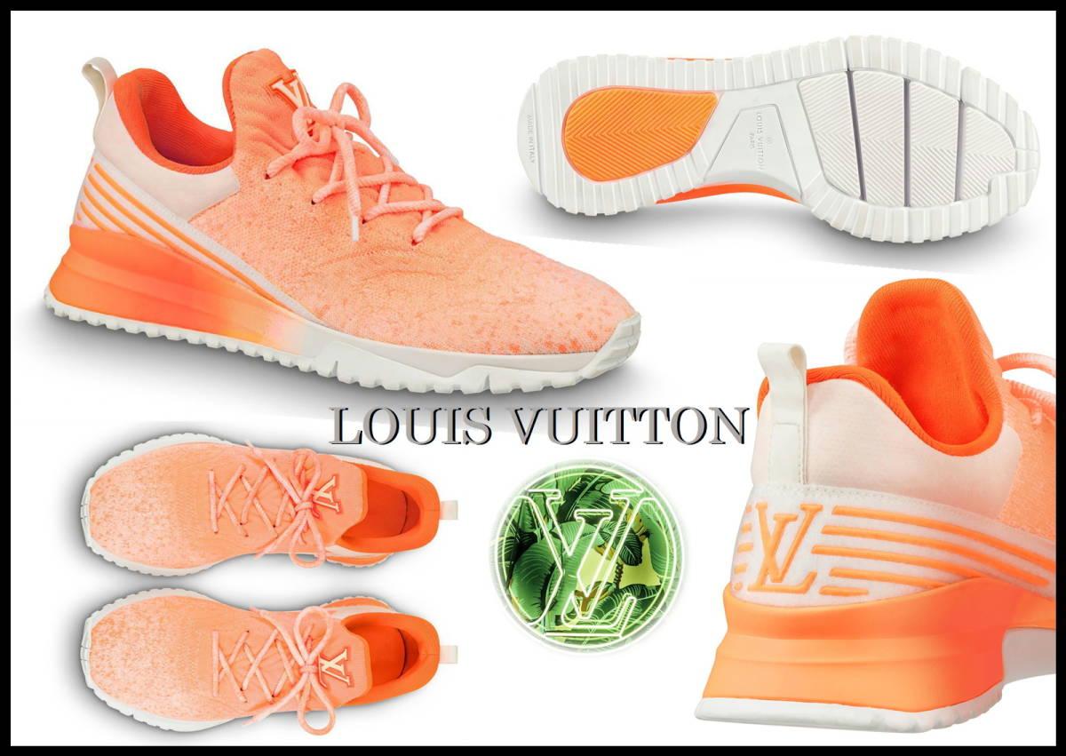 即完売 LOUIS VUITTON V.N.Rラインスニーカー オレンジ グラデーション ルイヴィトン LV ニット 靴 8 白 ベルト ランニング 美品 箱付き_画像9
