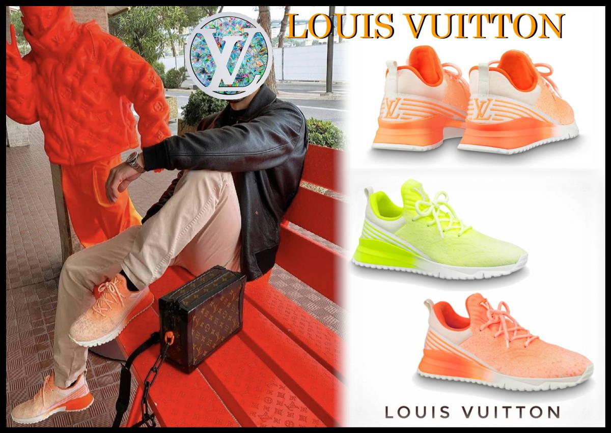 即完売 LOUIS VUITTON V.N.Rラインスニーカー オレンジ グラデーション ルイヴィトン LV ニット 靴 8 白 ベルト ランニング 美品 箱付き_画像10