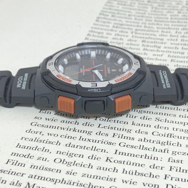 美品 ★CASIO THERMOMETER デジアナ 多機能 メンズ 腕時計 ★カシオ SGW-500H 3針 アラーム クロノ タイマー ブラック 稼動品 F5076_画像6