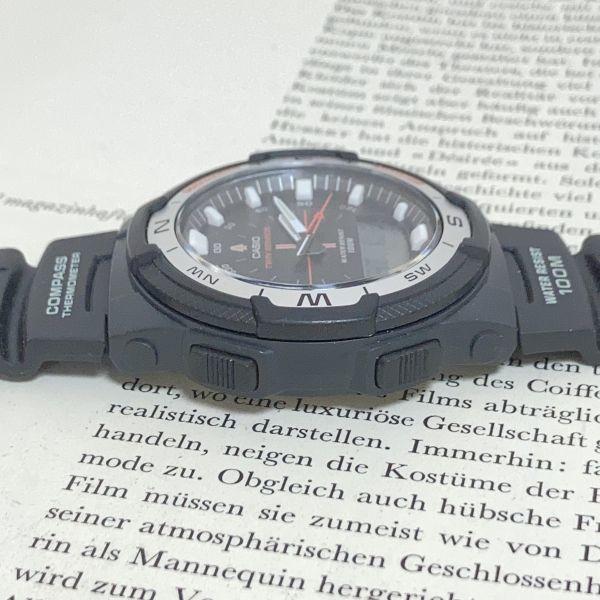 美品 ★CASIO THERMOMETER デジアナ 多機能 メンズ 腕時計 ★カシオ SGW-500H 3針 アラーム クロノ タイマー ブラック 稼動品 F5076_画像5