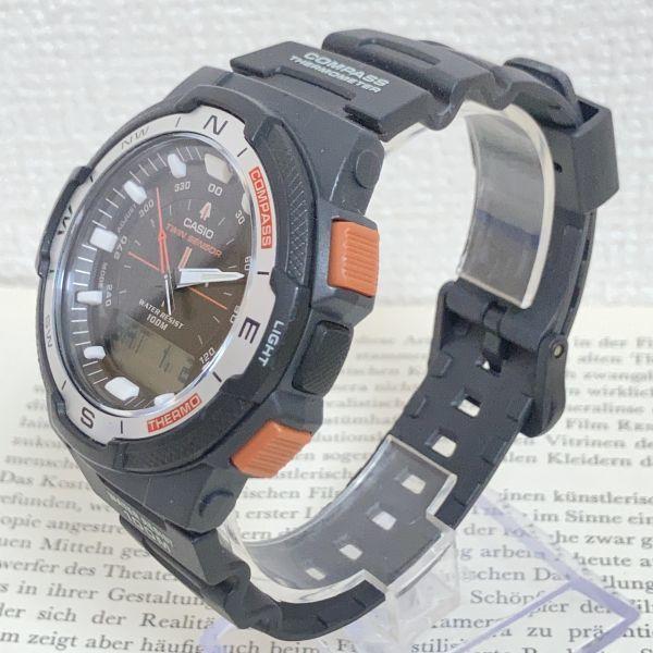 美品 ★CASIO THERMOMETER デジアナ 多機能 メンズ 腕時計 ★カシオ SGW-500H 3針 アラーム クロノ タイマー ブラック 稼動品 F5076_画像2