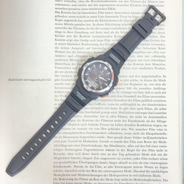 美品 ★CASIO THERMOMETER デジアナ 多機能 メンズ 腕時計 ★カシオ SGW-500H 3針 アラーム クロノ タイマー ブラック 稼動品 F5076_画像7