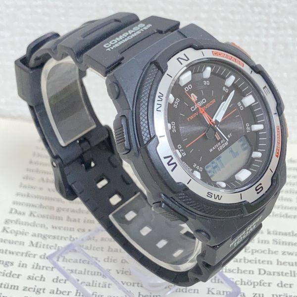 美品 ★CASIO THERMOMETER デジアナ 多機能 メンズ 腕時計 ★カシオ SGW-500H 3針 アラーム クロノ タイマー ブラック 稼動品 F5076_画像3