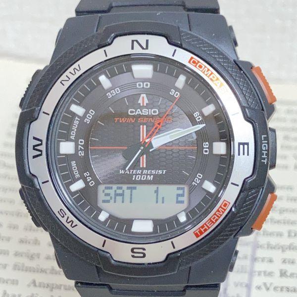 美品 ★CASIO THERMOMETER デジアナ 多機能 メンズ 腕時計 ★カシオ SGW-500H 3針 アラーム クロノ タイマー ブラック 稼動品 F5076_画像4