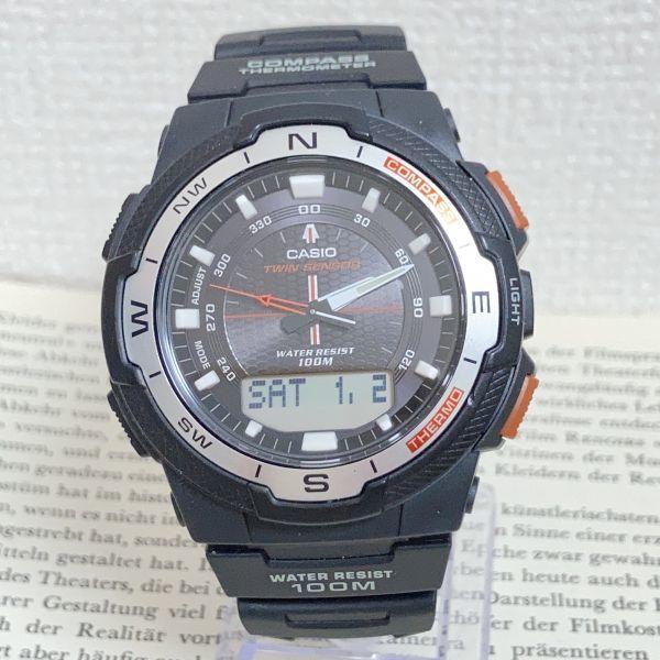 美品 ★CASIO THERMOMETER デジアナ 多機能 メンズ 腕時計 ★カシオ SGW-500H 3針 アラーム クロノ タイマー ブラック 稼動品 F5076_画像1