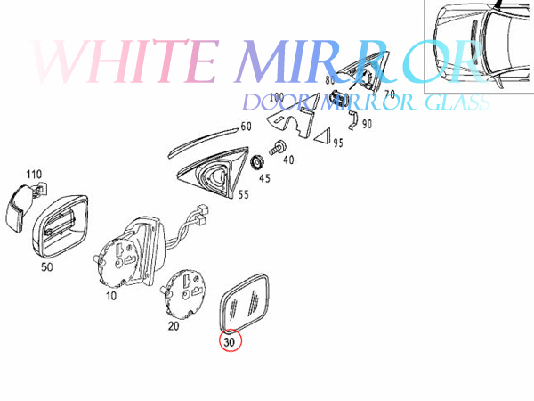 ベンツ CLクラス W215 CL500 CL600 CL55 1999~2002(前期) ワイド(広角) ドアミラーガラス ドアミラーレンズ 右側 2208100421 2208100221_画像4