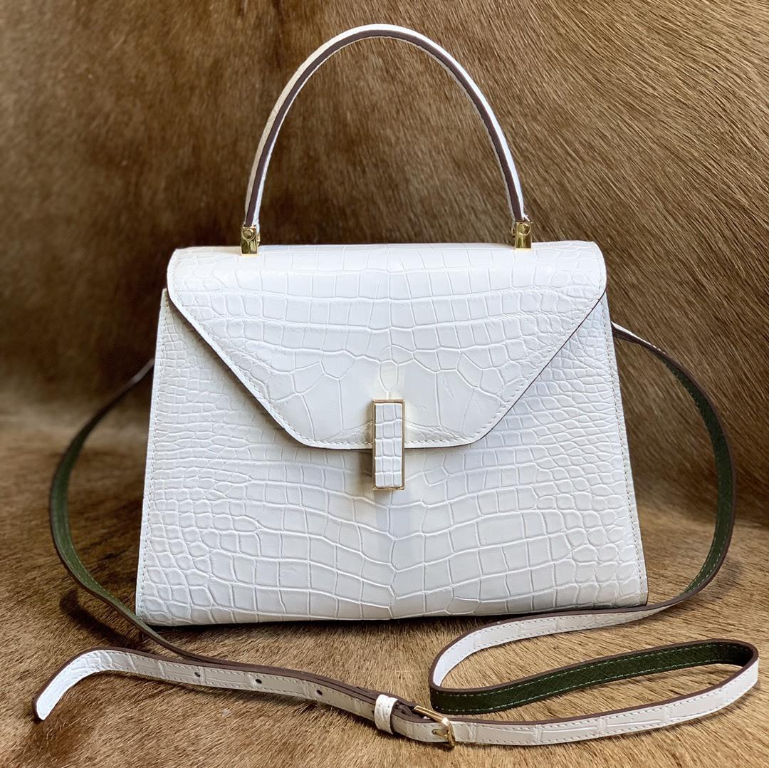 美品 クロコダイル ワニ革 ハンドバッグ トートバッグ レディース鞄 ゴールド金具 手提げ バッグ ショルダーバッグ 可愛い かばん 白_画像1