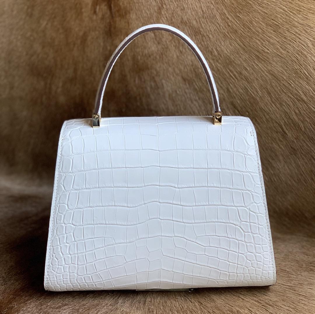 美品 クロコダイル ワニ革 ハンドバッグ トートバッグ レディース鞄 ゴールド金具 手提げ バッグ ショルダーバッグ 可愛い かばん 白_画像3