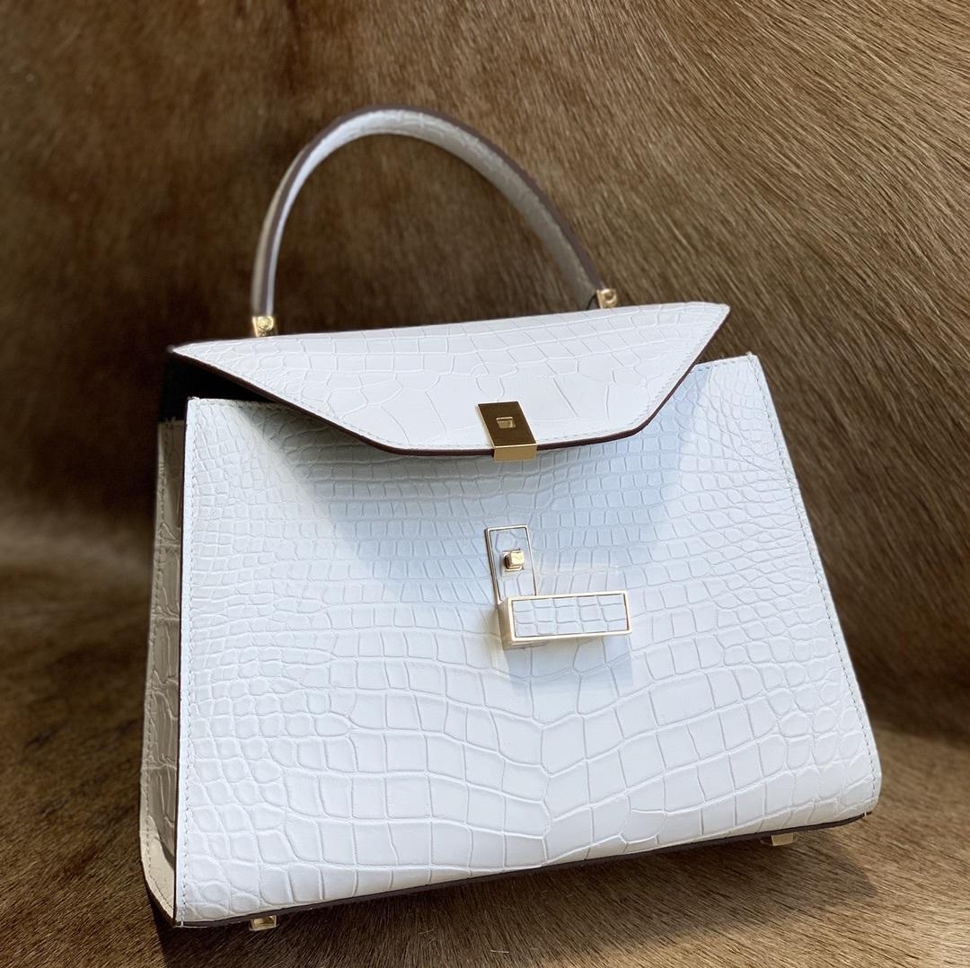 美品 クロコダイル ワニ革 ハンドバッグ トートバッグ レディース鞄 ゴールド金具 手提げ バッグ ショルダーバッグ 可愛い かばん 白_画像8