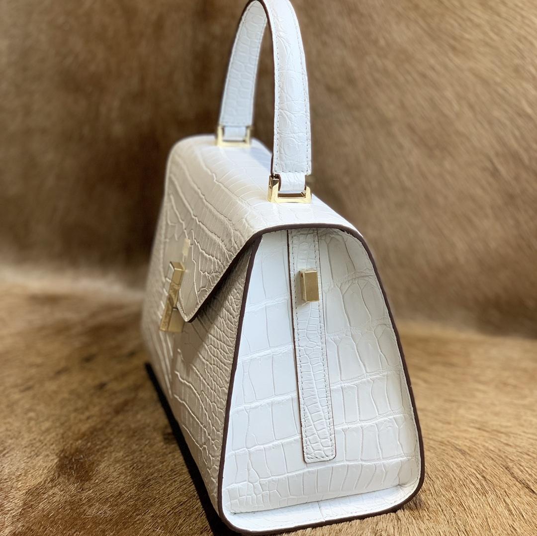 美品 クロコダイル ワニ革 ハンドバッグ トートバッグ レディース鞄 ゴールド金具 手提げ バッグ ショルダーバッグ 可愛い かばん 白_画像6