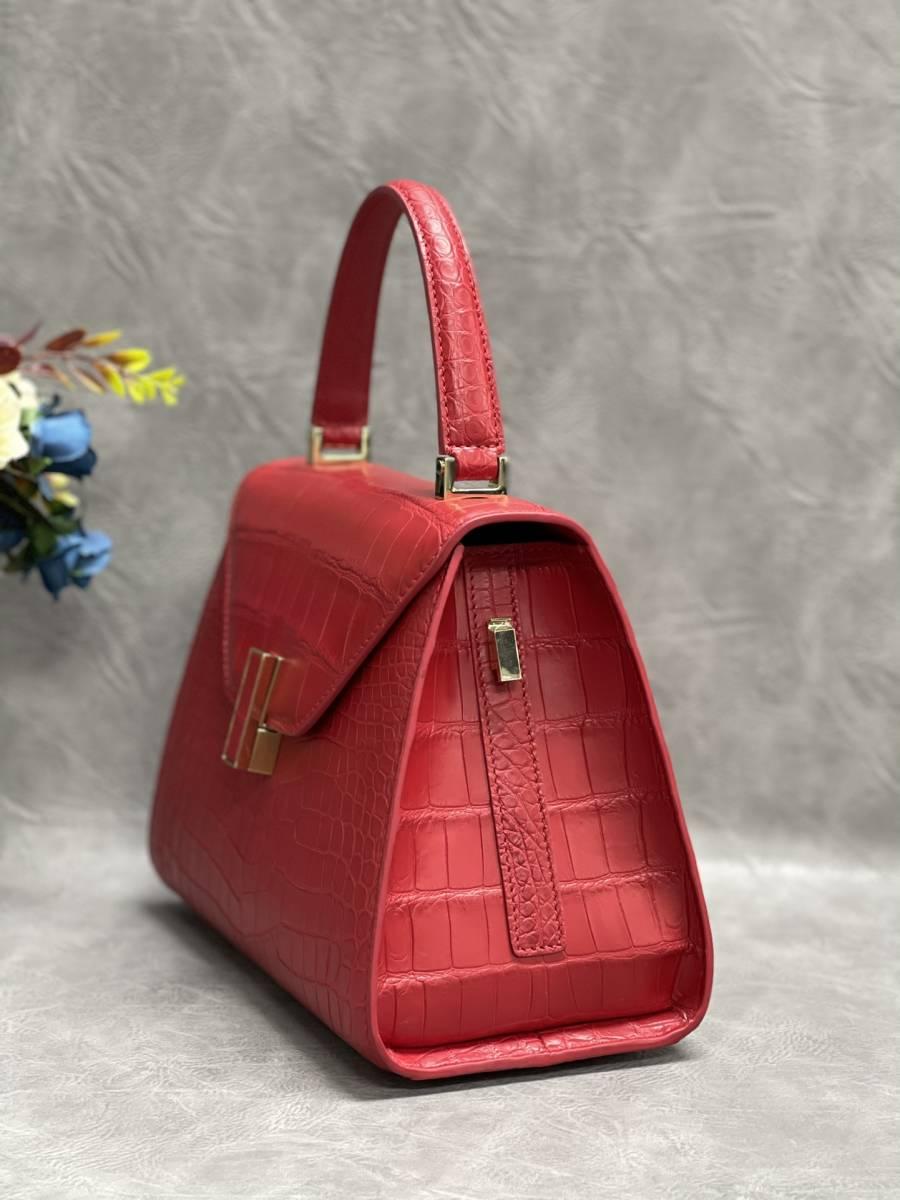 美品 クロコダイル ワニ革 ハンドバッグ トートバッグ レディース鞄 ゴールド金具 手提げ バッグ ショルダーバッグ 可愛い かばん レッド_画像5