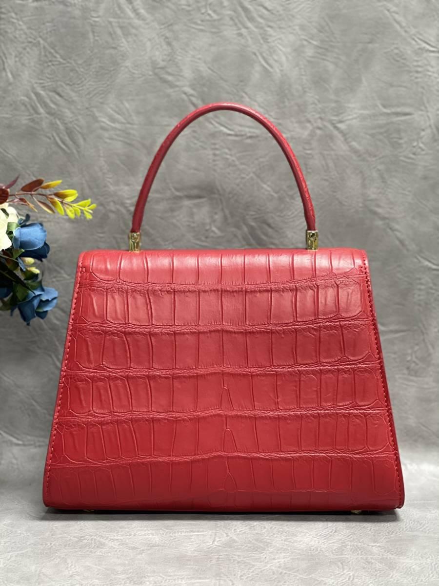 美品 クロコダイル ワニ革 ハンドバッグ トートバッグ レディース鞄 ゴールド金具 手提げ バッグ ショルダーバッグ 可愛い かばん レッド_画像3