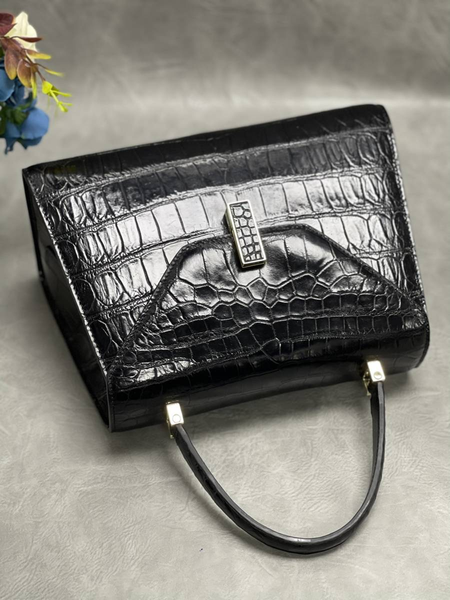 美品 クロコダイル ワニ革 ハンドバッグ トートバッグ レディース鞄 ゴールド金具 手提げ バッグ ショルダーバッグ 可愛い かばん 黒_画像7