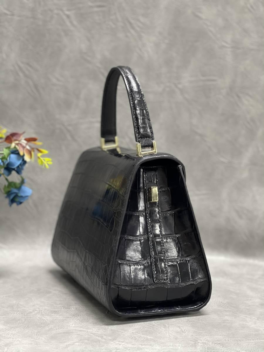美品 クロコダイル ワニ革 ハンドバッグ トートバッグ レディース鞄 ゴールド金具 手提げ バッグ ショルダーバッグ 可愛い かばん 黒_画像4