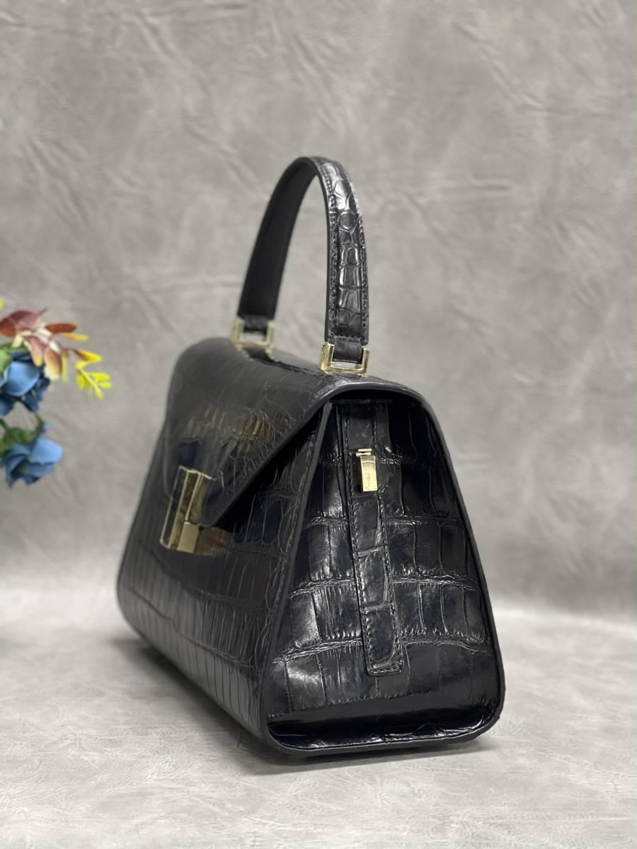 美品 クロコダイル ワニ革 ハンドバッグ トートバッグ レディース鞄 ゴールド金具 手提げ バッグ ショルダーバッグ 可愛い かばん 黒_画像5