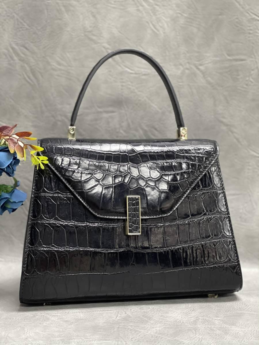 美品 クロコダイル ワニ革 ハンドバッグ トートバッグ レディース鞄 ゴールド金具 手提げ バッグ ショルダーバッグ 可愛い かばん 黒_画像2