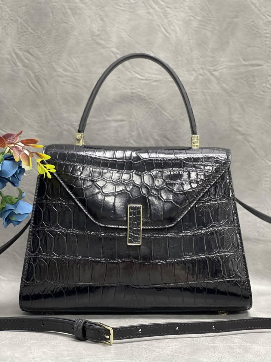 美品 クロコダイル ワニ革 ハンドバッグ トートバッグ レディース鞄 ゴールド金具 手提げ バッグ ショルダーバッグ 可愛い かばん 黒_画像1