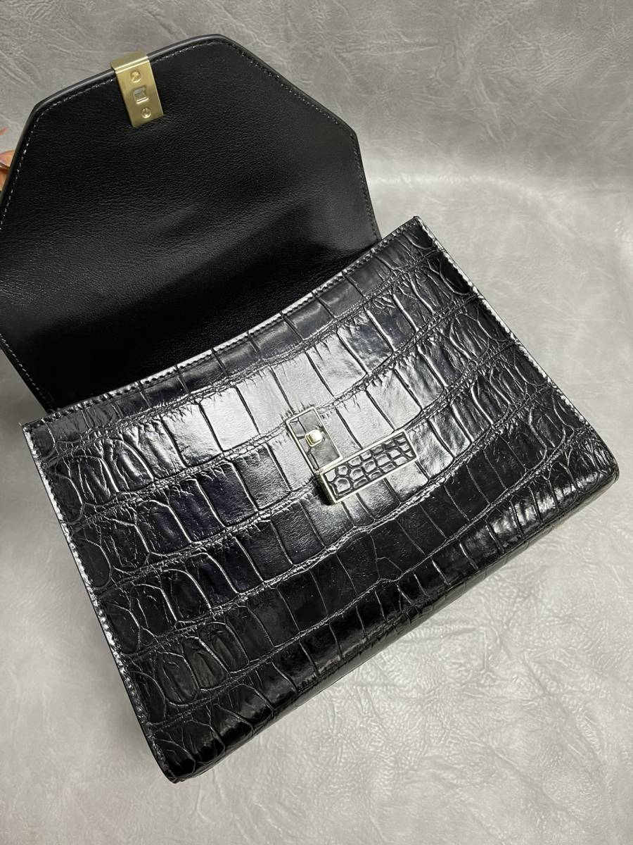 美品 クロコダイル ワニ革 ハンドバッグ トートバッグ レディース鞄 ゴールド金具 手提げ バッグ ショルダーバッグ 可愛い かばん 黒_画像8