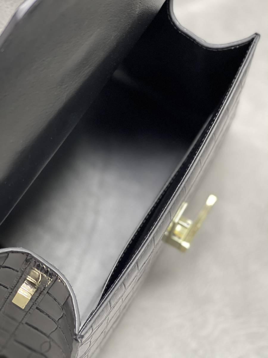 美品 クロコダイル ワニ革 ハンドバッグ トートバッグ レディース鞄 ゴールド金具 手提げ バッグ ショルダーバッグ 可愛い かばん 黒_画像9