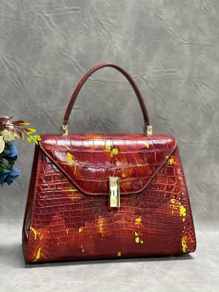 美品 クロコダイル ワニ革 ハンドバッグ トートバッグ レディース鞄 ゴールド金具 手提げ バッグ ショルダーバッグ かばん 綺麗色_画像2