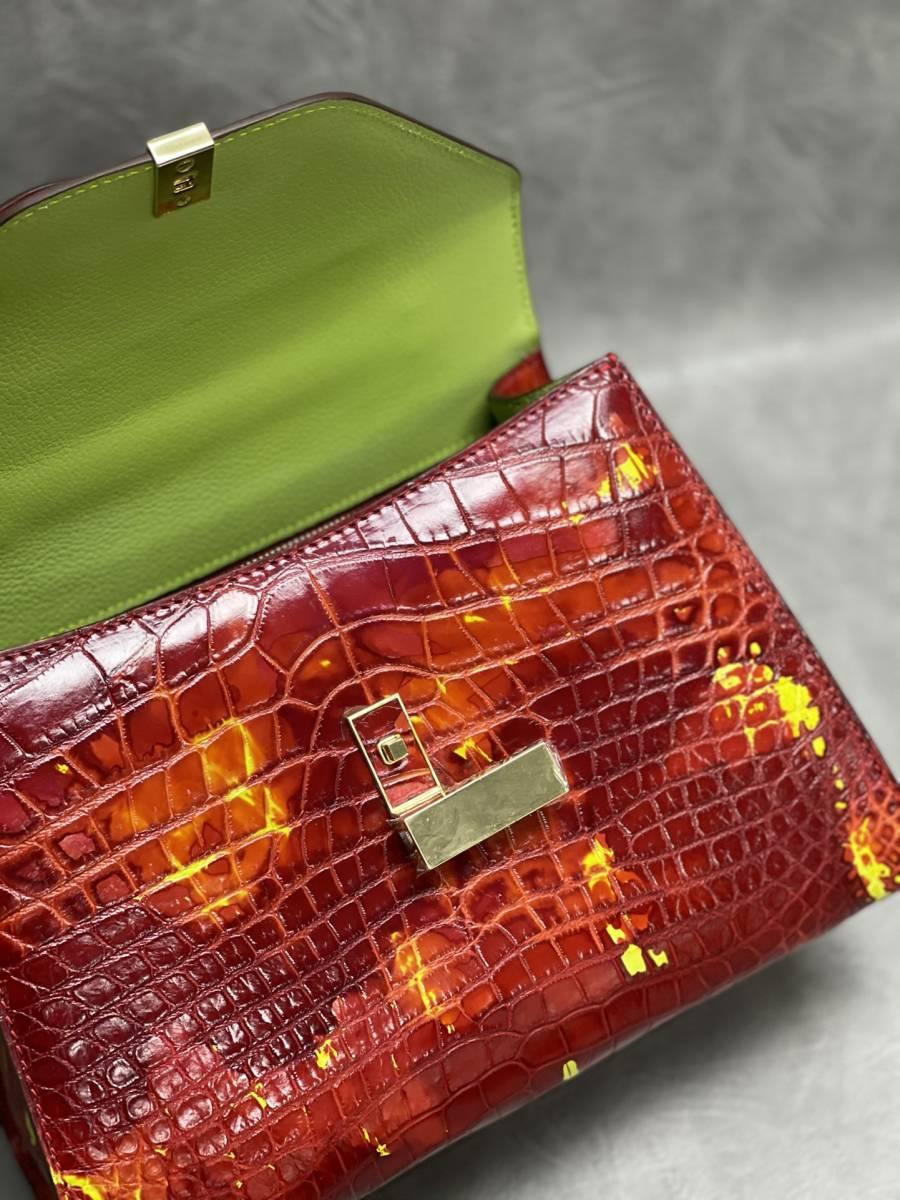 美品 クロコダイル ワニ革 ハンドバッグ トートバッグ レディース鞄 ゴールド金具 手提げ バッグ ショルダーバッグ かばん 綺麗色_画像8