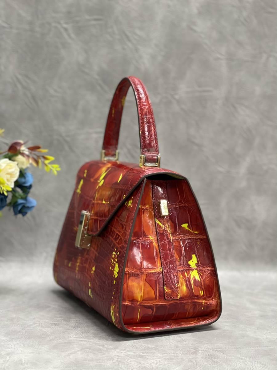 美品 クロコダイル ワニ革 ハンドバッグ トートバッグ レディース鞄 ゴールド金具 手提げ バッグ ショルダーバッグ かばん 綺麗色_画像4