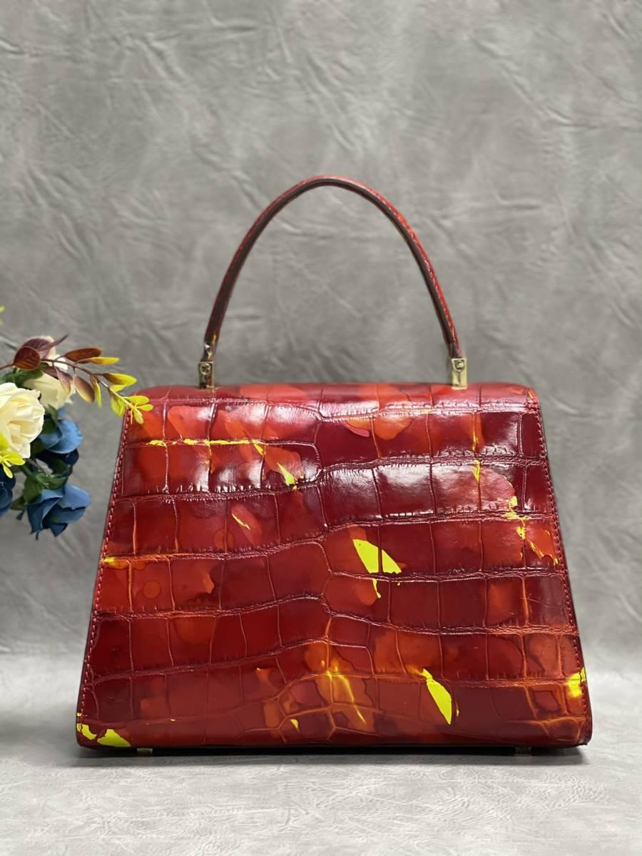 美品 クロコダイル ワニ革 ハンドバッグ トートバッグ レディース鞄 ゴールド金具 手提げ バッグ ショルダーバッグ かばん 綺麗色_画像3