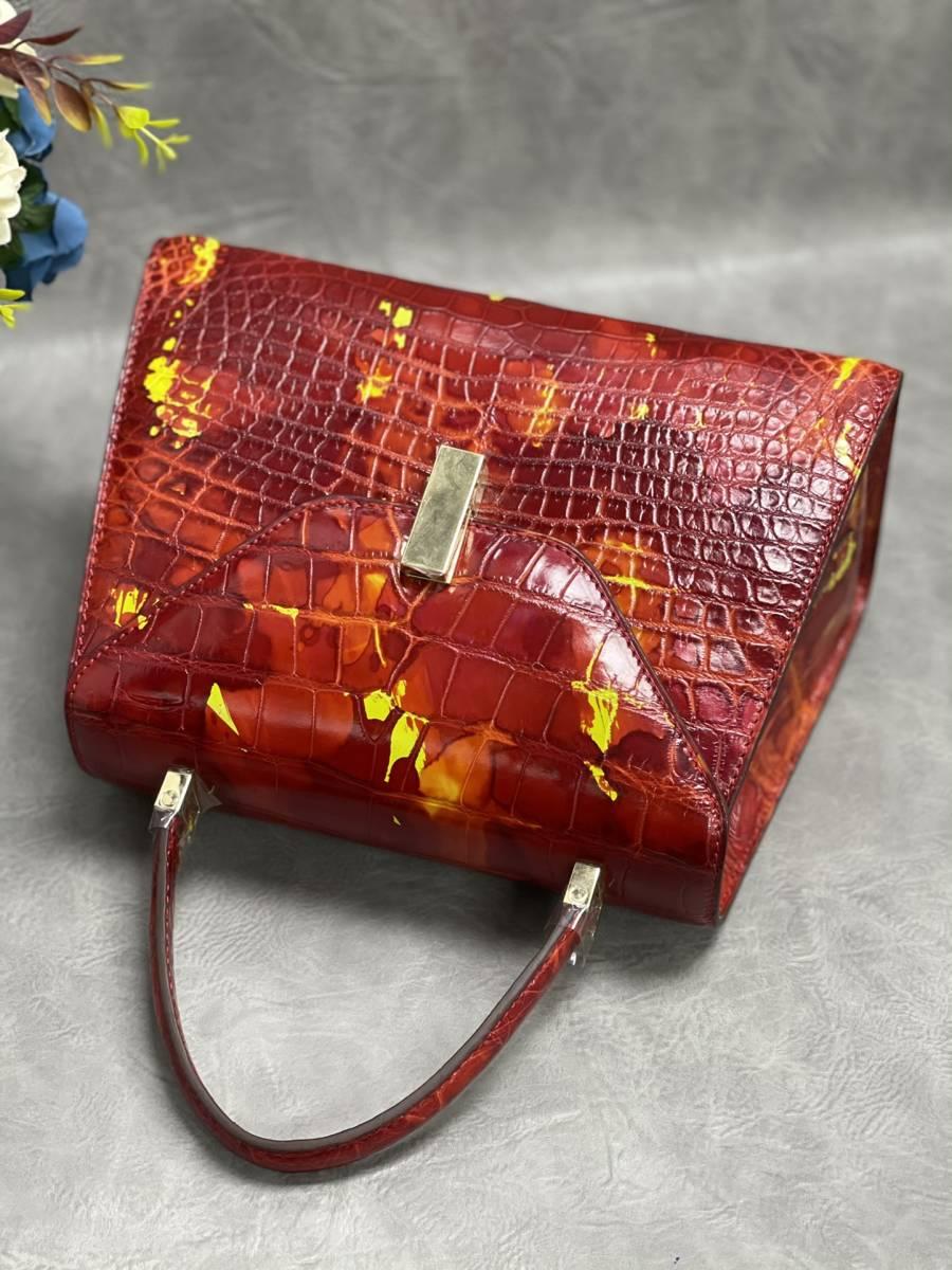 美品 クロコダイル ワニ革 ハンドバッグ トートバッグ レディース鞄 ゴールド金具 手提げ バッグ ショルダーバッグ かばん 綺麗色_画像7