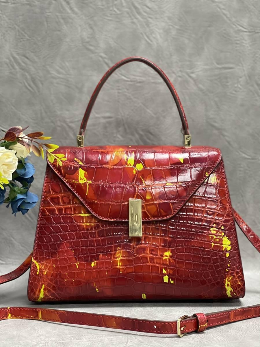 美品 クロコダイル ワニ革 ハンドバッグ トートバッグ レディース鞄 ゴールド金具 手提げ バッグ ショルダーバッグ かばん 綺麗色_画像1