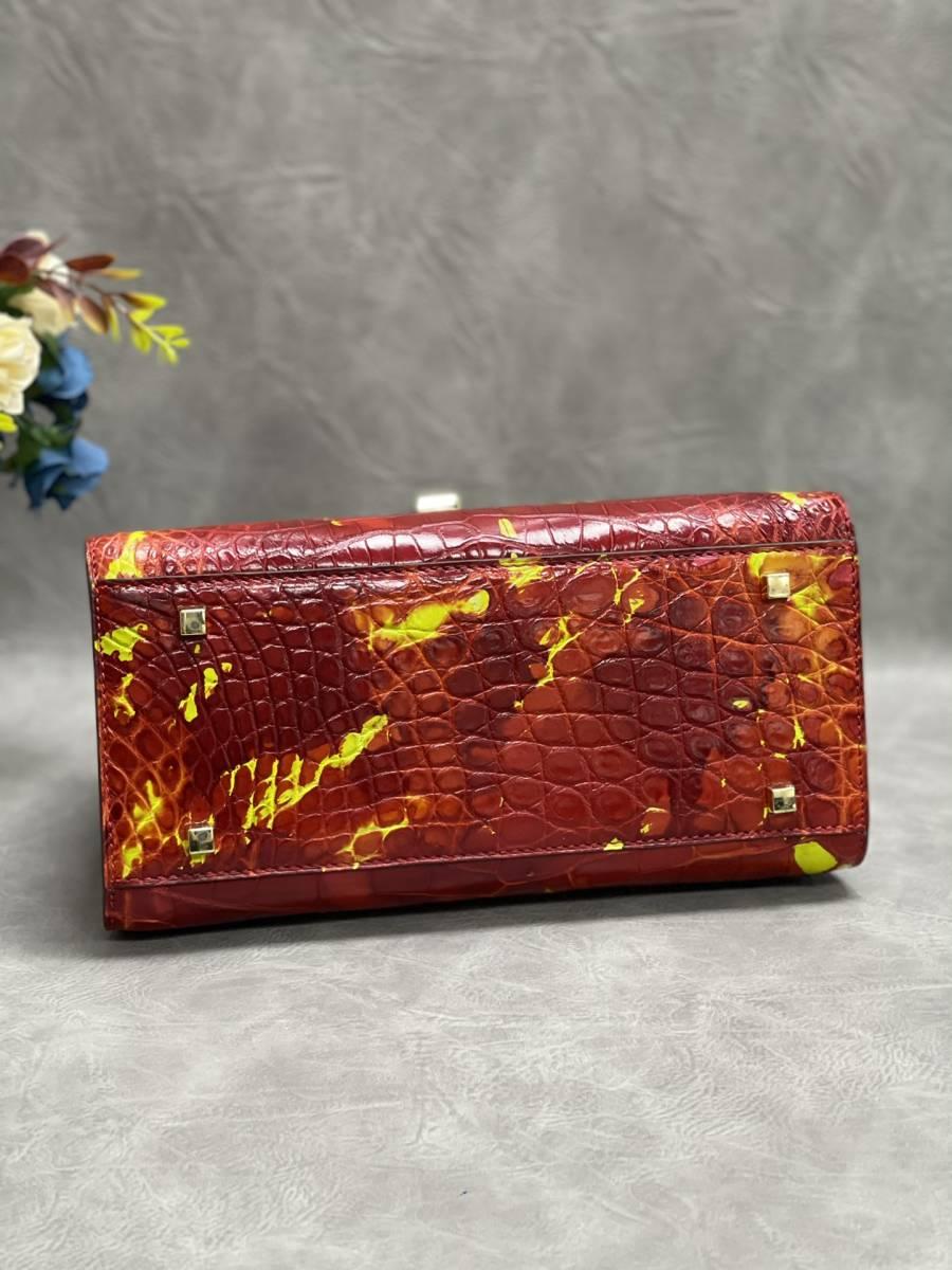 美品 クロコダイル ワニ革 ハンドバッグ トートバッグ レディース鞄 ゴールド金具 手提げ バッグ ショルダーバッグ かばん 綺麗色_画像6