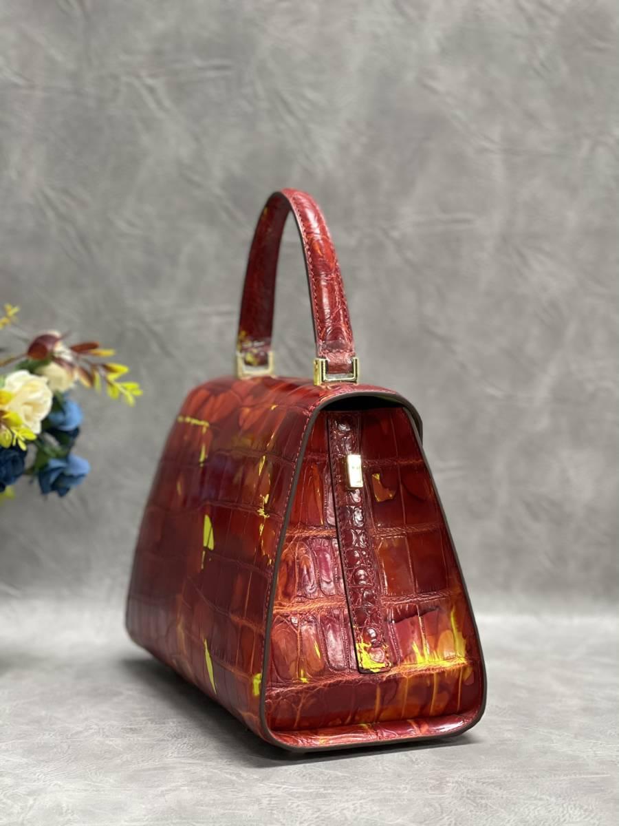 美品 クロコダイル ワニ革 ハンドバッグ トートバッグ レディース鞄 ゴールド金具 手提げ バッグ ショルダーバッグ かばん 綺麗色_画像5