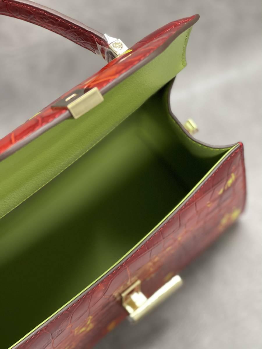 美品 クロコダイル ワニ革 ハンドバッグ トートバッグ レディース鞄 ゴールド金具 手提げ バッグ ショルダーバッグ かばん 綺麗色_画像9