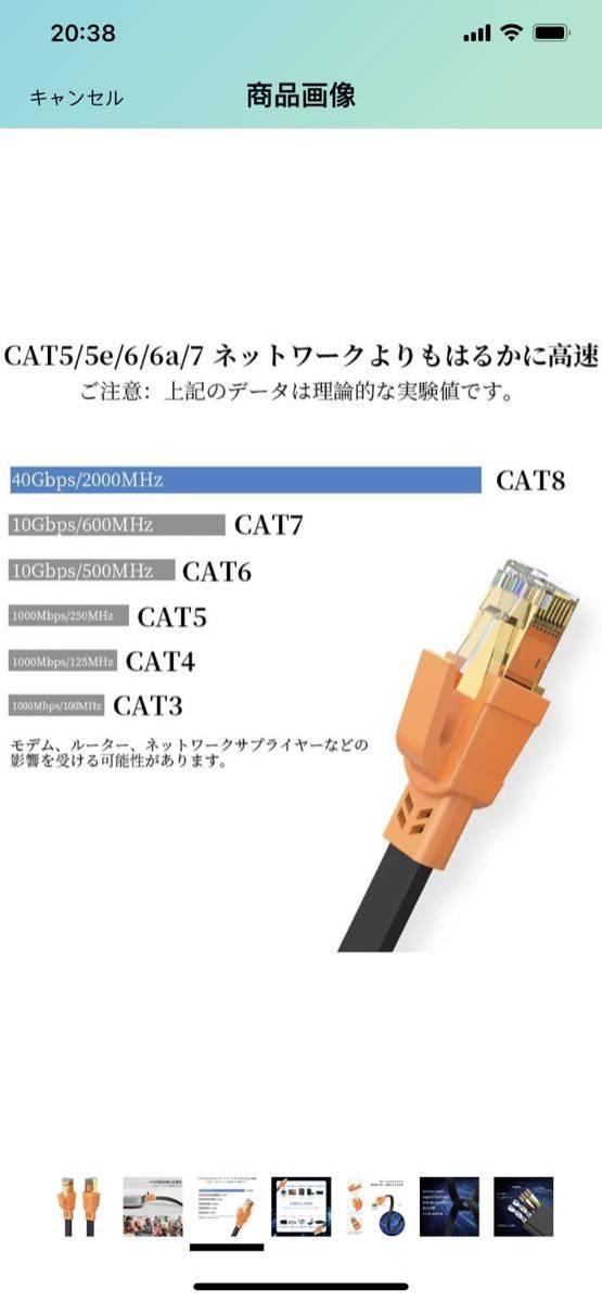 CAT8 LANケーブル 1.8M6FT
