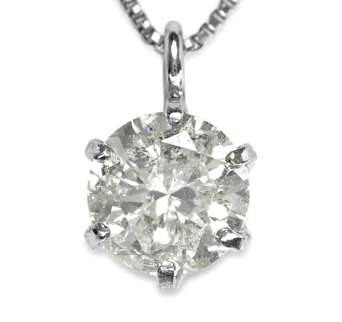 ▲天然ダイヤモンド 0.30ct Pt900 1.14g 42cm ネックレス 宝石 ジュエリー jewelry