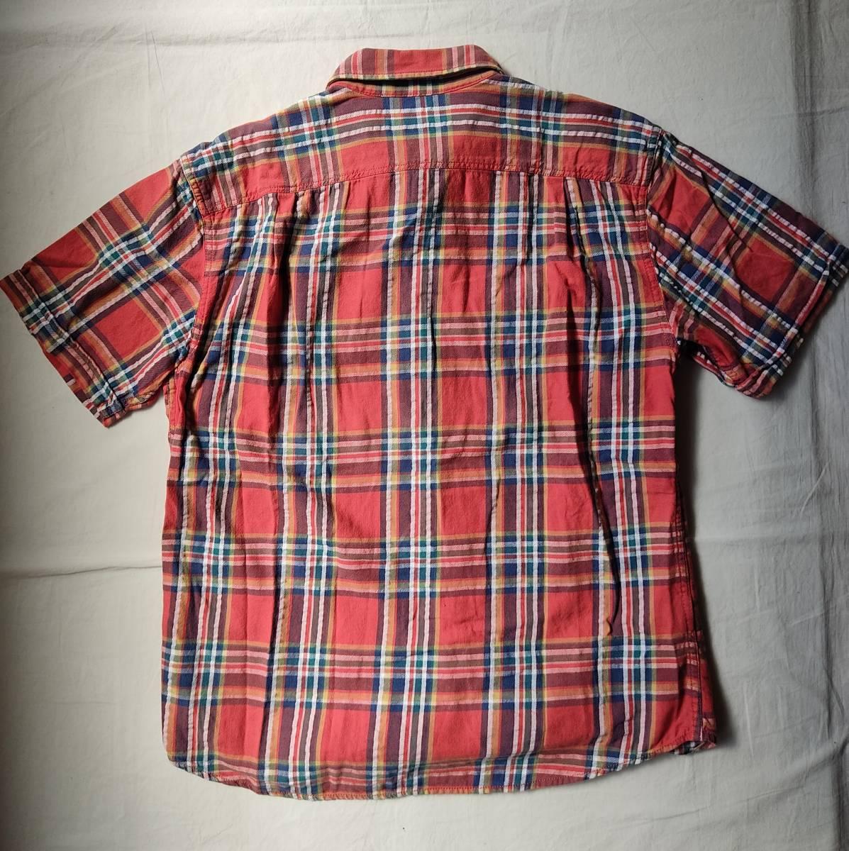 送料無料 eddie bauer エディーバウアー コットン ワークシャツ チェック 半袖シャツ 猫目ボタン オーバーサイズ 90s hiphop ビンテージ