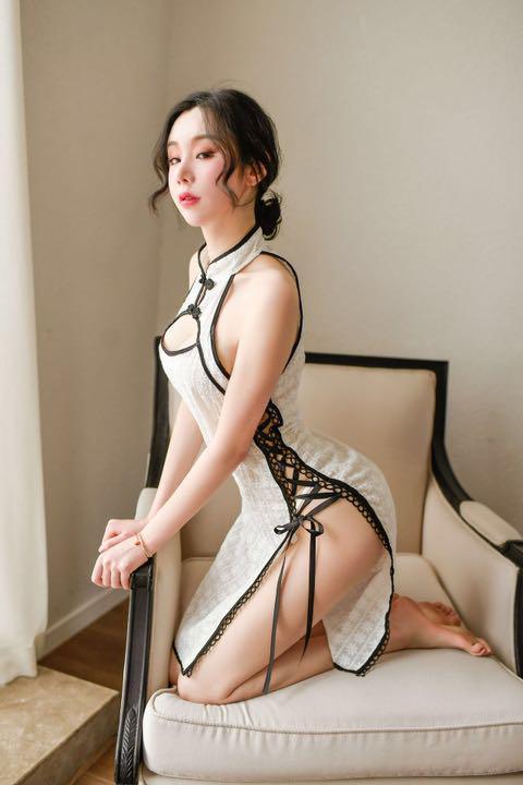 セクシーコスプレ チャイナドレス ホワイト 涼しい素材 可愛い花柄模様 夏 衣装_画像6