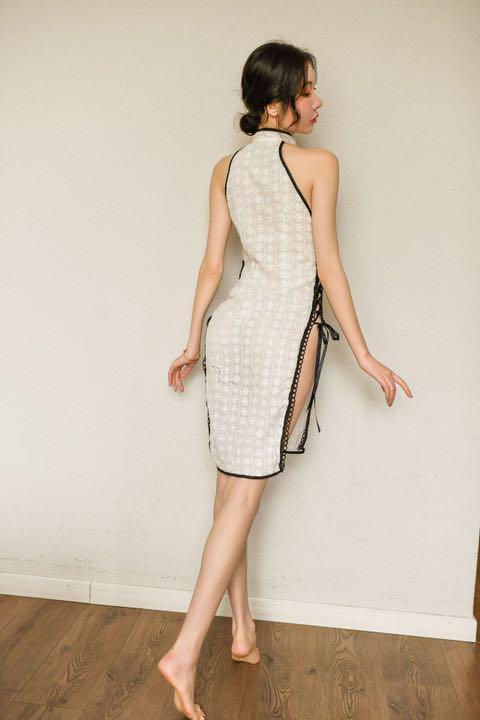 セクシーコスプレ チャイナドレス ホワイト 涼しい素材 可愛い花柄模様 夏 衣装_画像7