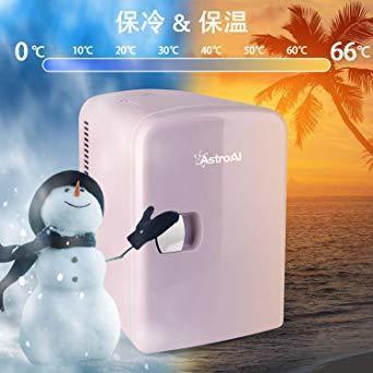 02ピンク AstroAI 冷蔵ノ 小型 ミニ冷蔵庫 小型冷蔵庫 冷温庫 4L 小型でポータブル 化粧品 家庭 車載両用 保温_画像2