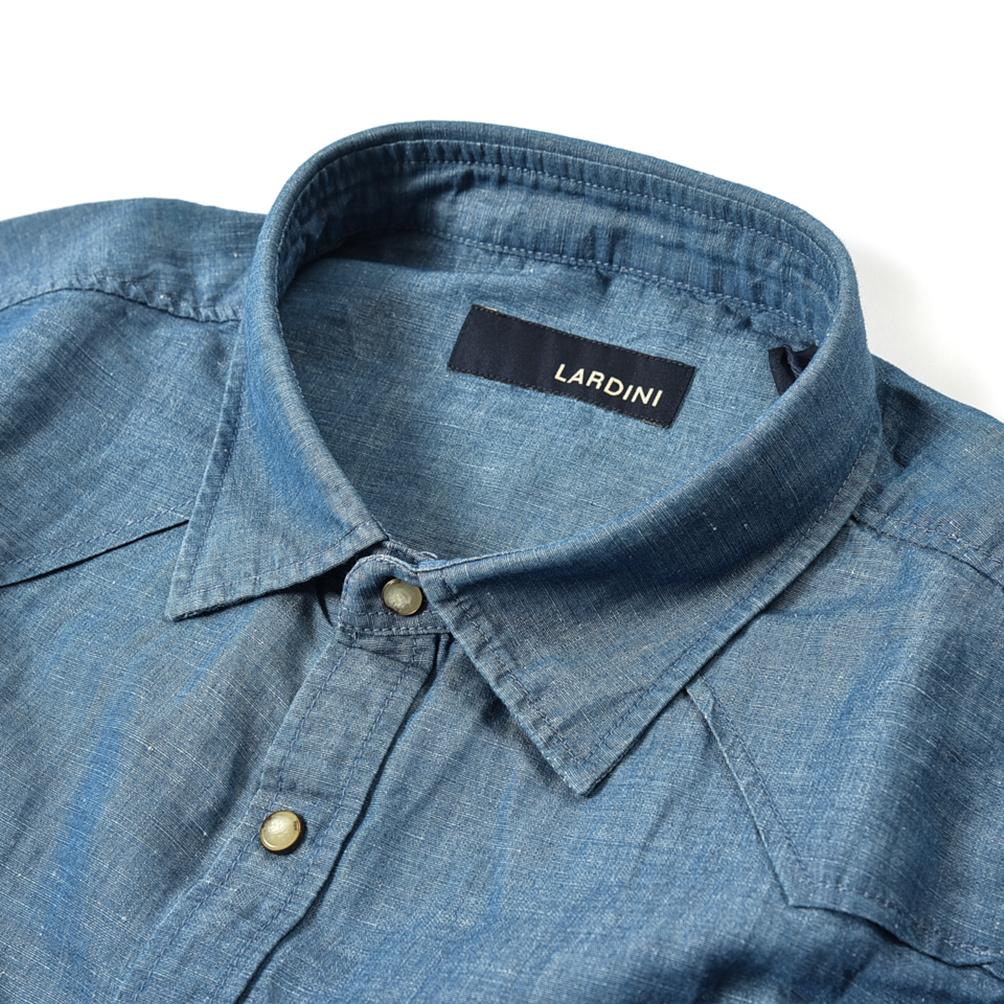 新着 新品 ラルディーニ LARDINI シャツ レギュラーカラー 春夏 メンズ コットン リネン