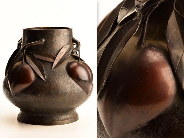 【流】古美術品 時代 銅製桃細工花瓶 箱付 WE784