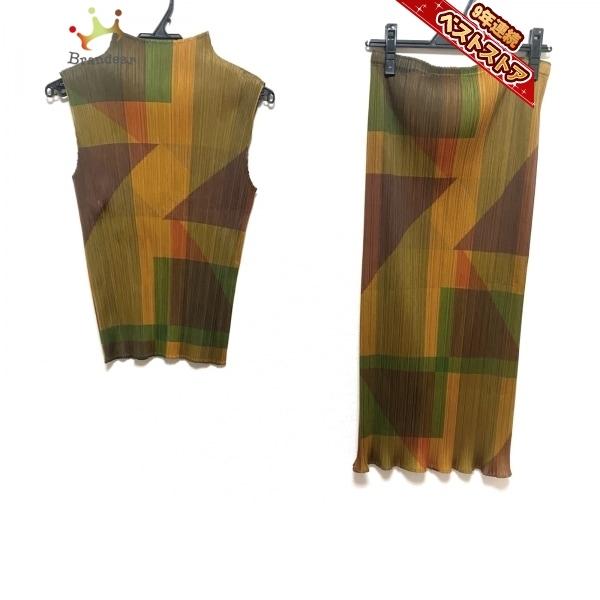 プリーツプリーズ PLEATS PLEASE スカートセットアップ サイズ4 XL - カーキ×ブラウン×マルチ レディース プリーツ レディーススーツ