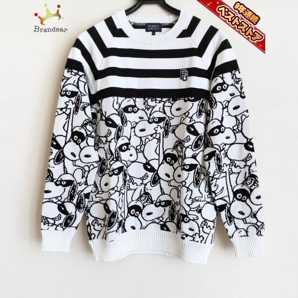 パーリーゲイツ PEARLY GATES 長袖セーター サイズ5 XL - 白×黒 メンズ クルーネック/イヌ柄 トップス