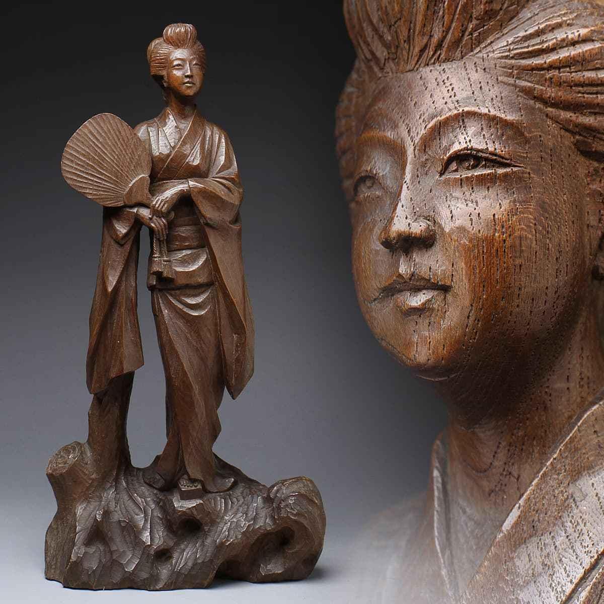 CW533 時代物 天然木 美杢 木彫美人像 高49.8cm 重2.9kg・木彫団扇美人・木雕仕女立像 床置飾/置物