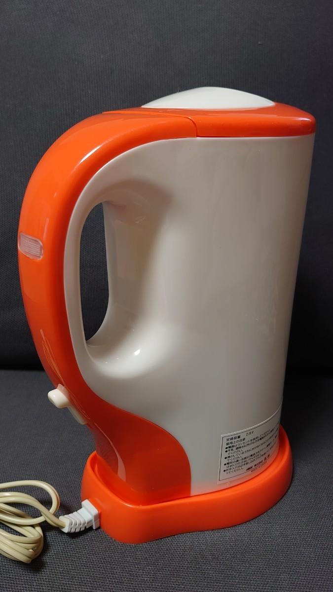 電気ポット 電気ケトル 電源プレート式 オルディナ OD-2 800ml 湯沸かし 匿名配送 オレンジ キッチン家電