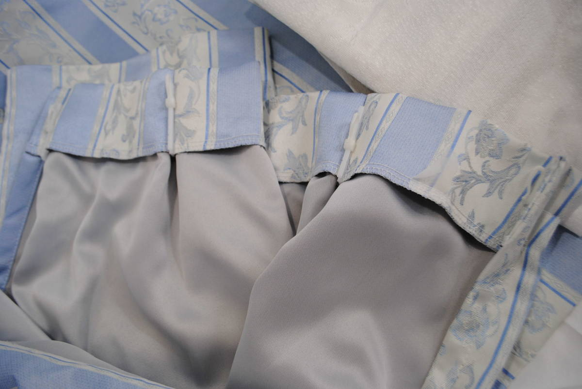 そ749●カーテンセット 4枚●レースカーテン/ストライプカーテン/花柄/ブルー/遮光/タッセル付き/掃き出し窓/アラベスク/インテリア_画像8