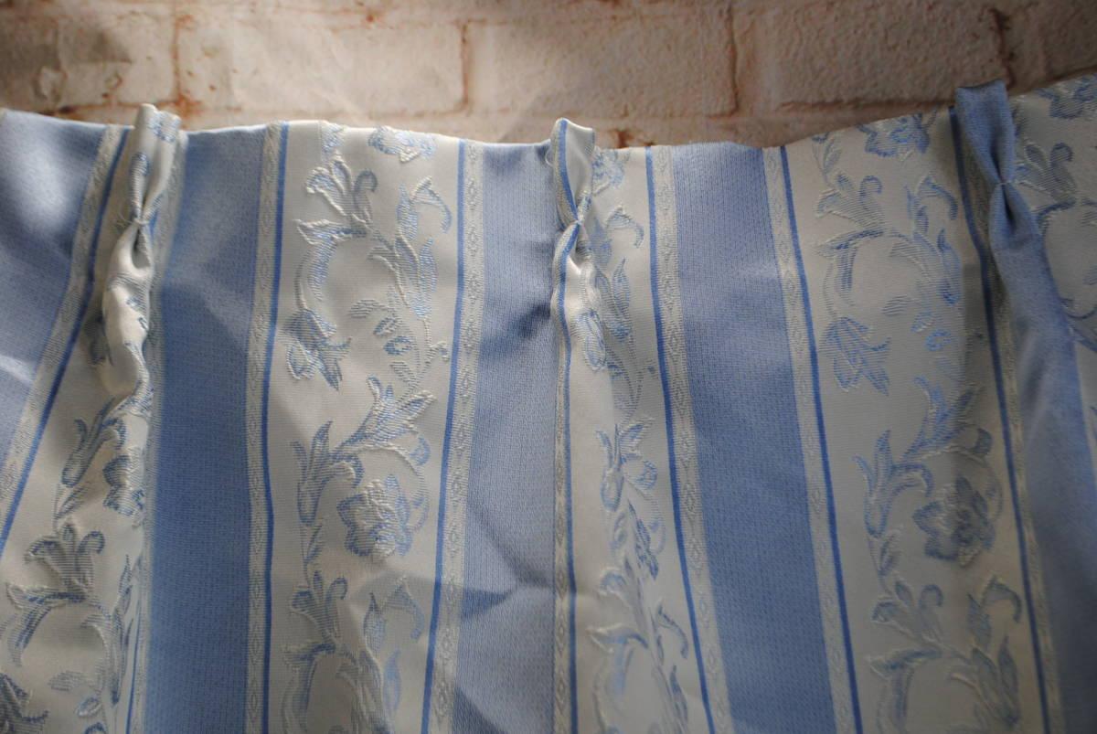 そ749●カーテンセット 4枚●レースカーテン/ストライプカーテン/花柄/ブルー/遮光/タッセル付き/掃き出し窓/アラベスク/インテリア_画像7