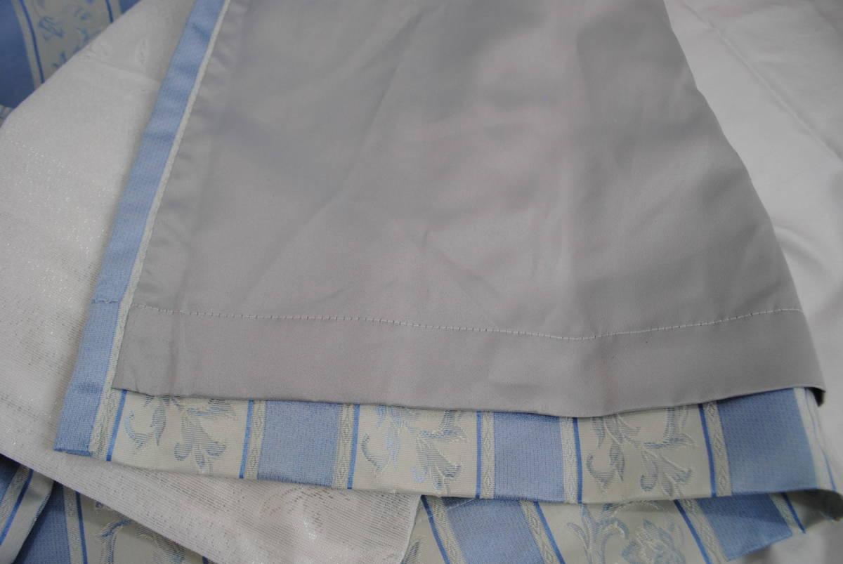 そ749●カーテンセット 4枚●レースカーテン/ストライプカーテン/花柄/ブルー/遮光/タッセル付き/掃き出し窓/アラベスク/インテリア_画像4